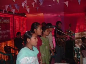 Worship team in Nepali refugee camp