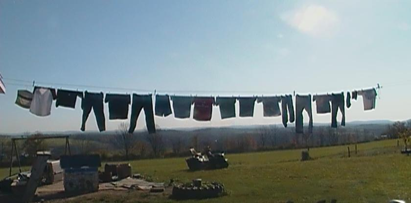 Clothes Line Sun and Mountains