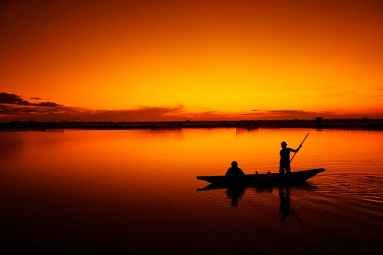 fishing sea sky sunset